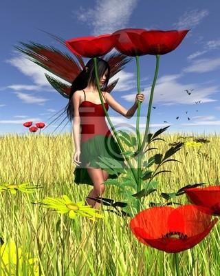 Rote Mohnblumen-Fee mit Cornfield Hintergrund