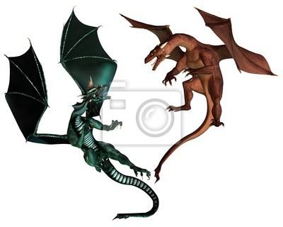 Rote und grüne Drachen Kämpfen