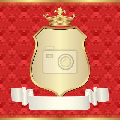 Bild roten Hintergrund mit goldenen Rahmen und Krone