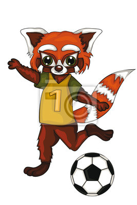 Roter Panda Ist Ein Fussballspieler Cartoon Stil Getrenntes