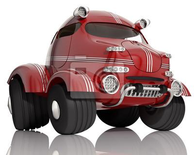 Rotes Auto auf weißem Hintergrund, 3d isoliert.