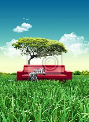 Bild Rotes Sofa auf Wiese