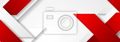 Bild Rotes und weißes geometrisches Unternehmensfahnendesign