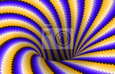 Rotierende Spirale gemusterte Loch von gelb blauen Streifen. Hintergrund der optischen Täuschung des Vektors.