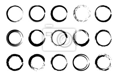 Bild Round grunge brush frames. Circle and stamp brush stroke borders, artistic brush blots and black paint frame design vector isolated elements set. Grungy dry brushstroke rings, stains, smears