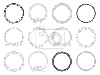 Bild Round rope frame. Circle ropes, rounded border and decorative marine cable frame circles isolated vector set