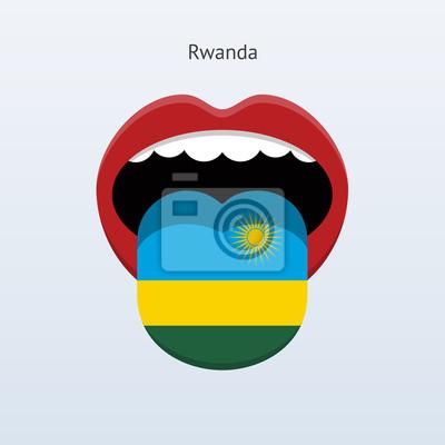 Ruanda Sprache. Abstrakt menschliche Zunge.