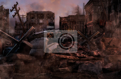 Bild Ruined abandoned city after war battle attack. Buildings on the street destroyed by war, battlefield. Apocalypse, environment ecology, pollution, peace and world war concept. 3D