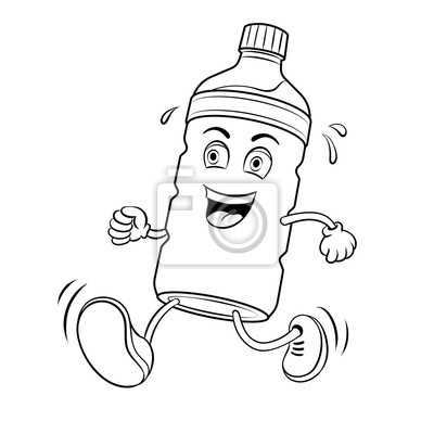 Run bottle of water coloring book vector leinwandbilder • bilder ...