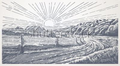 Bild Rural landscape with village in engraving style. Vector Illustration.