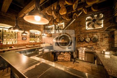 Rustikale Pizzaofen Bar Und Kuche In Pizzeria Interieur