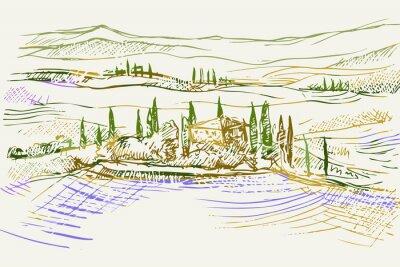 Bild Rysynek ręcznie rysowany. Toskański pejzaż z okolic Sieny we Włoszech w Europie