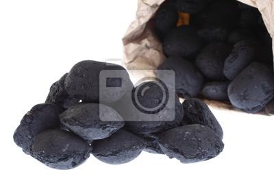 Bild Sack-, Beutel isoliert Kohle, Kohlenstoff-Nuggets