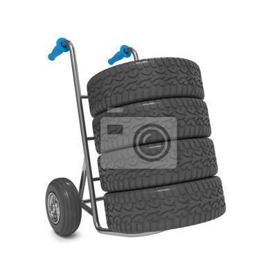 Sackkarre mit Reifen auf weißem Hintergrund