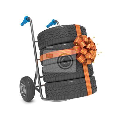 Sackkarre mit Reifen und Band-Bogen-Geschenk.