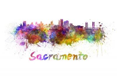 Bild Sacramento Skyline in Aquarell
