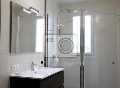 Salle de bain moderne, douche à litalienne leinwandbilder • bilder ...
