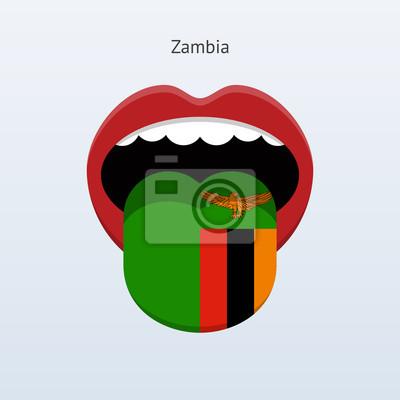 Sambia Sprache. Abstrakt menschliche Zunge.