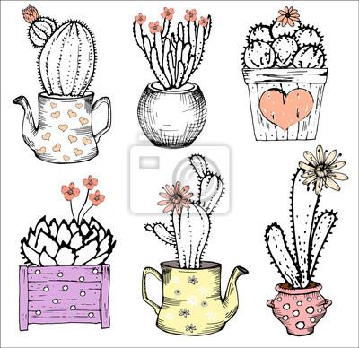 Bild Sammlung Hand gezeichnet cute Kakteen, Vektor-Illustration. Verschiedene Arten von Kaktus Pflanzen mit Blumen in Teekanne und Topf, Herz, isoliert gesetzt. Pastellrosa und Schwarzweiss