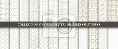 Bild Sammlung nahtlose dekorative Vektormuster. Grid geometrisches orientalisches Design.