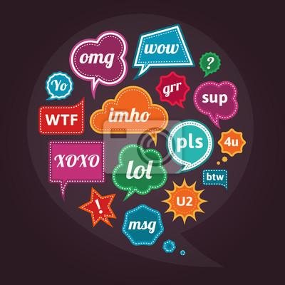 Sammlung von Akronymen und Abkürzungen bunte Sprechblasen