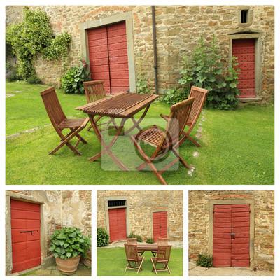 Bild Sammlung Von Bildern Mit Gartenmöbeln Aus Holz Auf Rasen