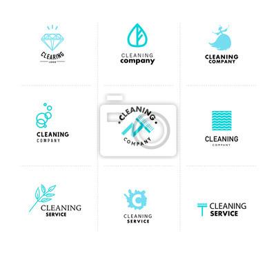 Sammlung von flachen blauen einfachen logo-vorlagen für reinigungs ...