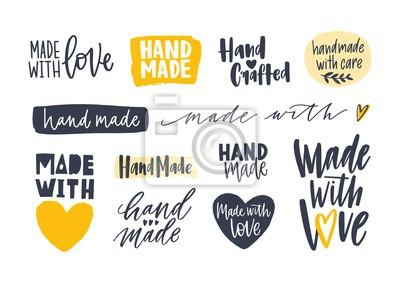 Bild Sammlung von handgefertigten Inschriften für Etiketten oder Tags für handgefertigte Waren. Satz der eleganten Beschriftung handgeschrieben mit den verschiedenen kalligraphischen Güssen, die auf weißem