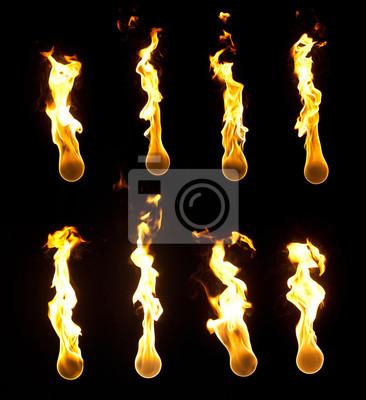 Sammlung von hochauflösenden Feuerbälle auf schwarzem Hintergrund.