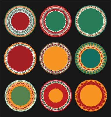 Bild Sammlung von mexikanischen runden dekorativen Rahmen Rahmen mit schwarz gefüllten Hintergrund