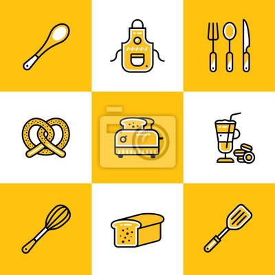 Bild Sammlung Von Outline Icons, Bäckerei, Kochen. Premium Qualität Moderne  Symbole
