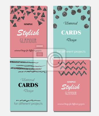 Bild Sammlung von Universal Modern Stylish Karten Vorlagen mit Silber Texturen.