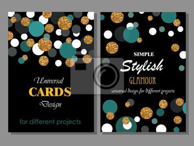 Bild Sammlung von Universal Modern Stylish Kartenvorlagen mit Goldlen Glitter Punkte.