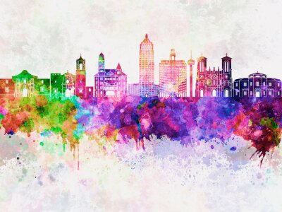 Bild San Antonio skyline in watercolor background