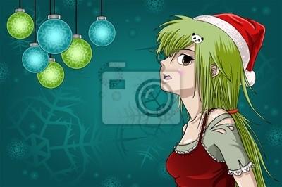 Anime Weihnachten Bilder.Bild Sankt Mädchen Mit Einer Schönen Weihnachten Hintergrund Anime Stil