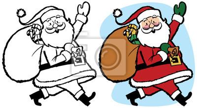 Weihnachtsgeschenke Sack.Bild Santa Claus Mit Einem Sack Weihnachtsgeschenke Und Winken