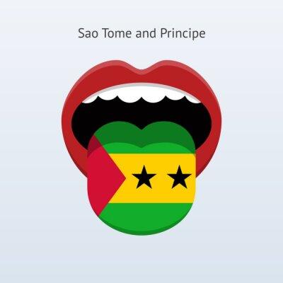 Sao Tome und Principe Sprache. Abstrakt menschliche Zunge.