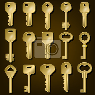 Bild Satz Goldtürschlüssel von verschiedenen Formen. Vektor-Illustration.