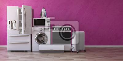 Bild Satz Haushalts-home appliancesess auf rosa Hintergrund. Küchentechnik in den neuen Wohnungen. E-Commerce-Online-Internet-Shop und Lieferung von Geräten Konzept.