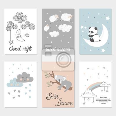Satz Nachtkarten Mit Netten Karikaturtieren Sternen Und Mond