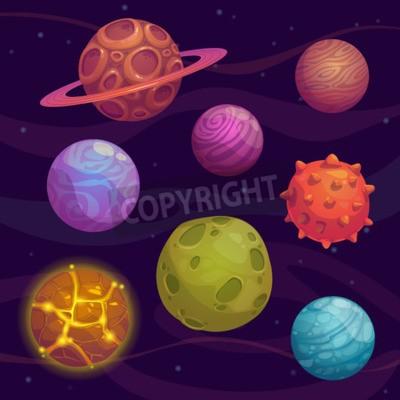 Bild Satz von Cartoon fantastischen Planeten auf Platzhintergrund