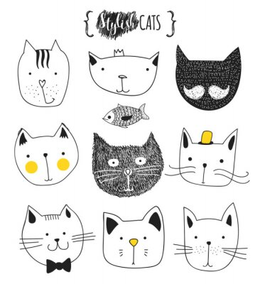 Bild Satz von cute doodle Katzen. Skizze Katze. Katzen-Skizze. Katze handgefertigt. Drucken T-Shirts für die Katze. Druck für Kleidung. Kinder Gekritzel-Tiere. Stilvolle Mündungskatzen. Isolierte Katze. Ha
