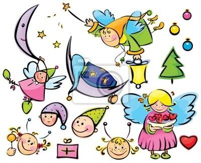 Bild Satz von cute Engel und Elemente für Weihnachten Design
