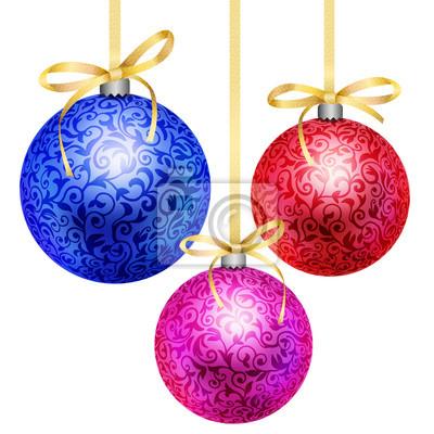 Weihnachtskugeln Blau.Bild Satz Von Drei Weihnachtskugeln Blau Purpurrot Rot Mit Blumenmuster