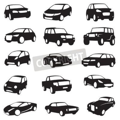 Bild Satz von fünfzehn schwarzen Autos Silhouetten
