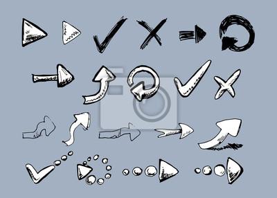 Satz von Hand gezeichneten Pfeilen. Vektor-Illustration