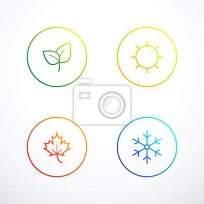 Bild Satz von Jahreszeitensymbolen.  Vektorillustration