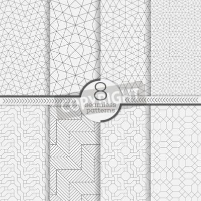 Bild Satz von nahtlose Muster. Moderne stilvolle Beschaffenheiten. Zusammenfassung geometrischen Hintergrund. Ursprüngliche Linienstruktur mit wiederholten dünnen gestrichelten Linien, Polygone, schwierige