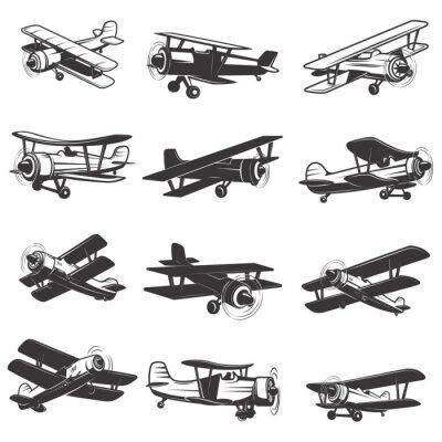 Bild Satz von Vintage Flugzeug-Icons. Flugzeugabbildungen. Design-Element für Logo, Label, Emblem, Zeichen. Vektor-Illustration.