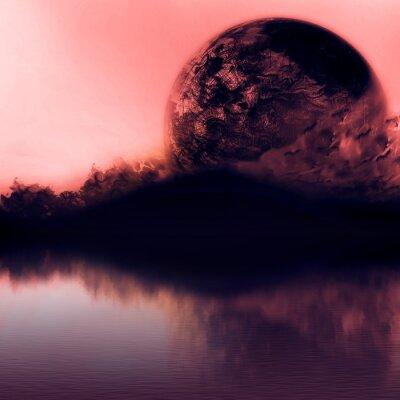 Bild Sauber Sonnenuntergang Himmel mit Silhouette Berge und nahe Planeten